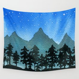 Starry Night Over Blue Mountains & Black Trees Wall Tapestry