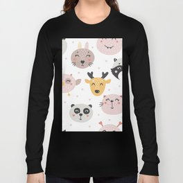 Woodland Critters Pattern Long Sleeve T-shirt