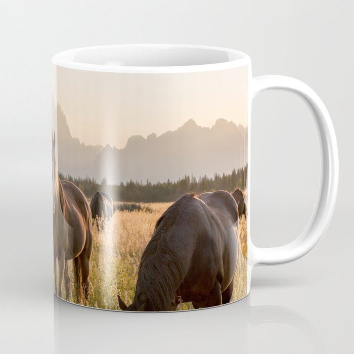 Horses Grazing Below the Tetons Coffee Mug