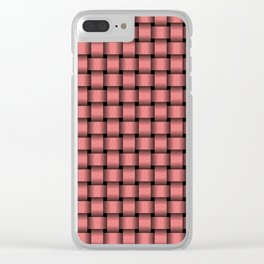 Small Light Coral Pink Weave Clear iPhone Case