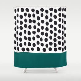 "Elegant Handpainted Polka Dots with ""Shaded Spruce"", Fall, Autumn Color Shower Curtain"