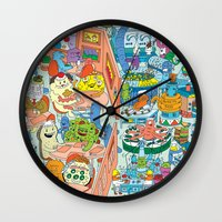 monster inc Wall Clocks featuring Chez Monster by Clayton (CTON) Hanmer