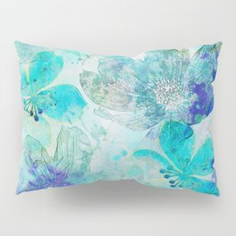 blue turquoise mixed media flower illustration Pillow Sham