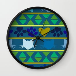 kitty paws green blue and yellow Wall Clock