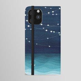 Garlands of stars, watercolor teal ocean iPhone Wallet Case