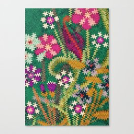 Starry Floral Felted Wool, Green Canvas Print