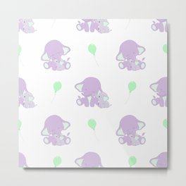 Elephants - Purple and Green Metal Print