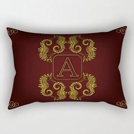 Letter A Seahorse Rectangular Pillow