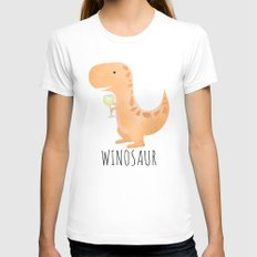 Winosaur | White Wine Womens Fitted Tee SMALL White