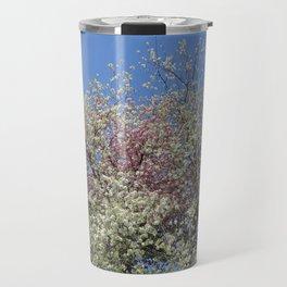 Pink and White Blossom - Blue Sky Travel Mug