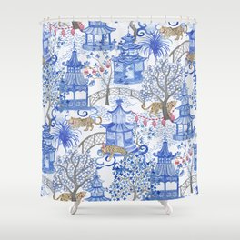 Party Leopards in the Pagoda Forest Shower Curtain