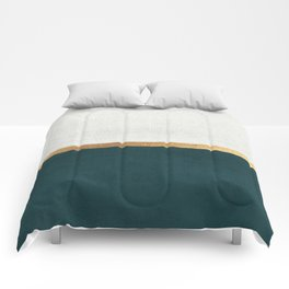 Deep Green, Gold and White Color Block Comforters