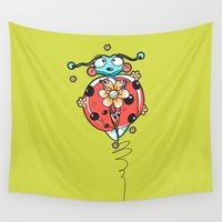 bug Wall Tapestries featuring RED BUG by fluxographix