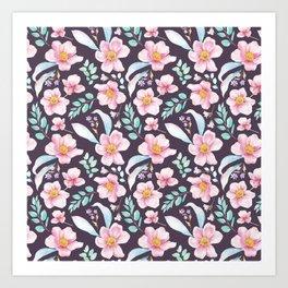 Elegant purple pink teal watercolor botanical floral pattern Art Print