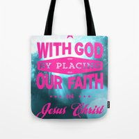 bible verses Tote Bags featuring Typographic Motivational Bible Verses - Romans 3:22 by The Wooden Tree