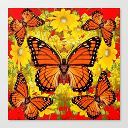 VICEROY BUTTERFLIES & YELLOW FLOWERS RED ART Canvas Print