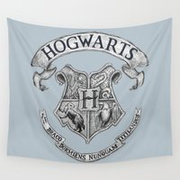 hogwarts Wall Tapestries featuring Hogwarts by Cécile Pellerin