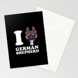 I Love German Shepherd modern v2 Stationery Cards