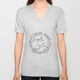 Fox and Loon Playing in Floral Wreath Design — Floral Wreath with Animals Illustration Unisex V-Neck