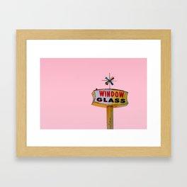Atomic Pink Starburst - Vintage Googie-Style Sign with Pink Background Framed Art Print