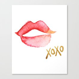 XOXO & Red Watercolor Lips Canvas Print