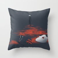 tokyo ghoul Throw Pillows featuring Tokyo Ghoul - 993 by Chris Lejman