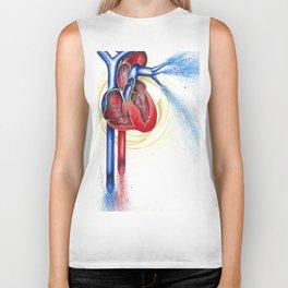 Anatomical Heart, Abstract blood Biker Tank