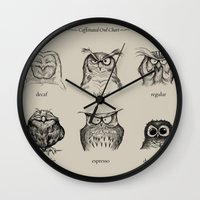 adorable Wall Clocks featuring Caffeinated Owls by Dave Mottram