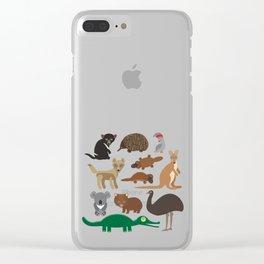 Animals Australia: Echidna Platypus ostrich Emu Tasmanian devil Cockatoo parrot Wombat snake turtle Clear iPhone Case