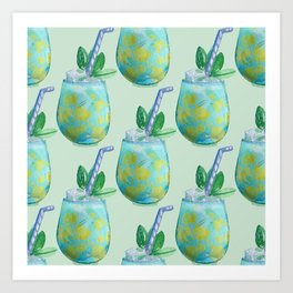 Watercolor fresh cocktail art Art Print