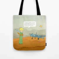 le petit prince Tote Bags featuring  Le Petit Prince  by Ia Re