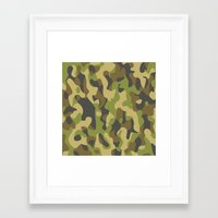 military Framed Art Prints featuring Military Pattern by Crazy Thoom