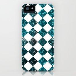 Glittery Diamond Pattern| Teal iPhone Case