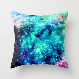 Colorful Teal Galaxy Sparkle Stars Throw Pillow