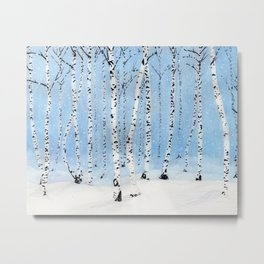 Late Afternoon Snowstorm in the Forest Metal Print
