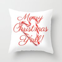 Merry Christmas Y'all Candy Cane Throw Pillow