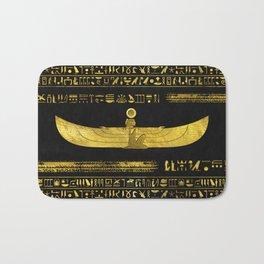 Golden Egyptian God Ornament on black leather Bath Mat