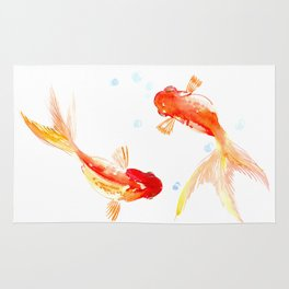 Goldfish, Two Koi Fish, Feng Shui, yoga Asian meditation design Rug