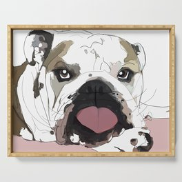 English Bulldog heart shaped tongue Serving Tray