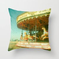 carousel Throw Pillows featuring Carousel by Cassia Beck
