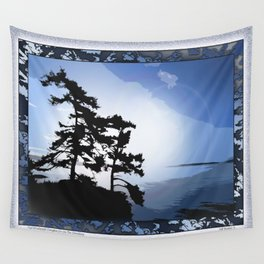TWO WINDSWEPT DOUGLAS FIR ON THE SHORELINE Wall Tapestry
