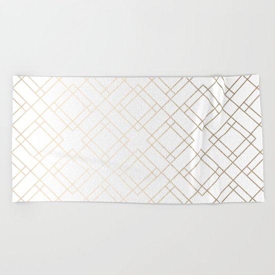 Simply Mod Diamond White Gold Sands on White Beach Towel