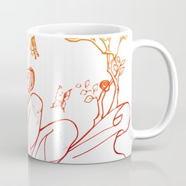 The Masked Fairy - sunset colors version - A masked fairy girl surrounded by butterflies and roses Coffee Mug