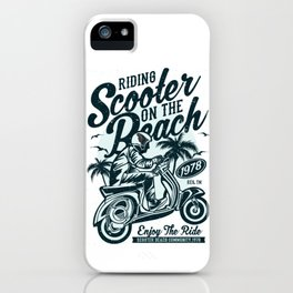 Riding Scooter On The Beach iPhone Case