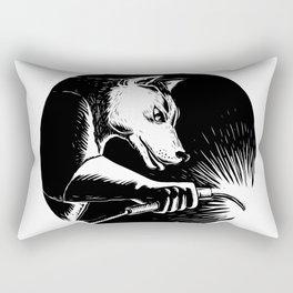 Dingo Dog Welder Scratchboard Rectangular Pillow