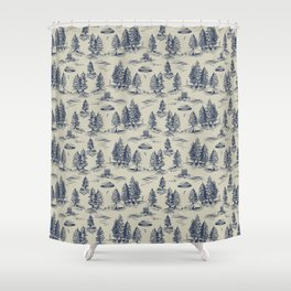 Alien Abduction Toile De Jouy Pattern in Blue Shower Curtain