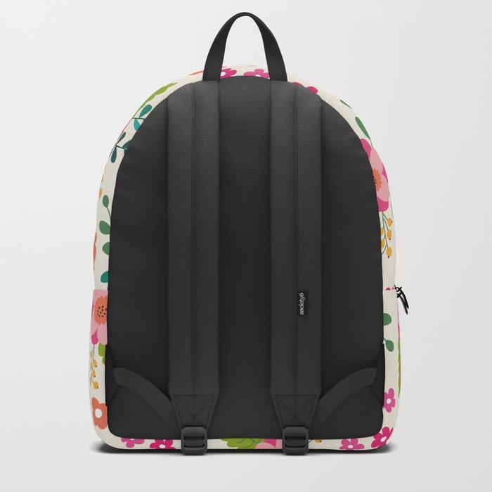 Pink Fuchsia Spring Flower Pattern Backpack