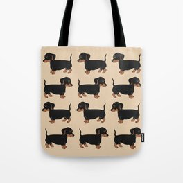 Black and Brown Dachshunds Pattern Tote Bag