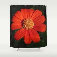 mexican Shower Curtains featuring Mexican Sunflower by Awesome Palette
