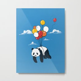 Flying Panda Metal Print